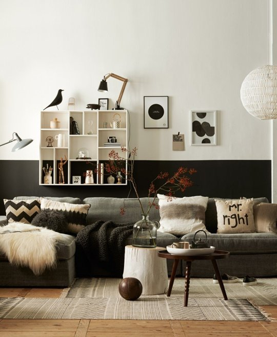 half black living room